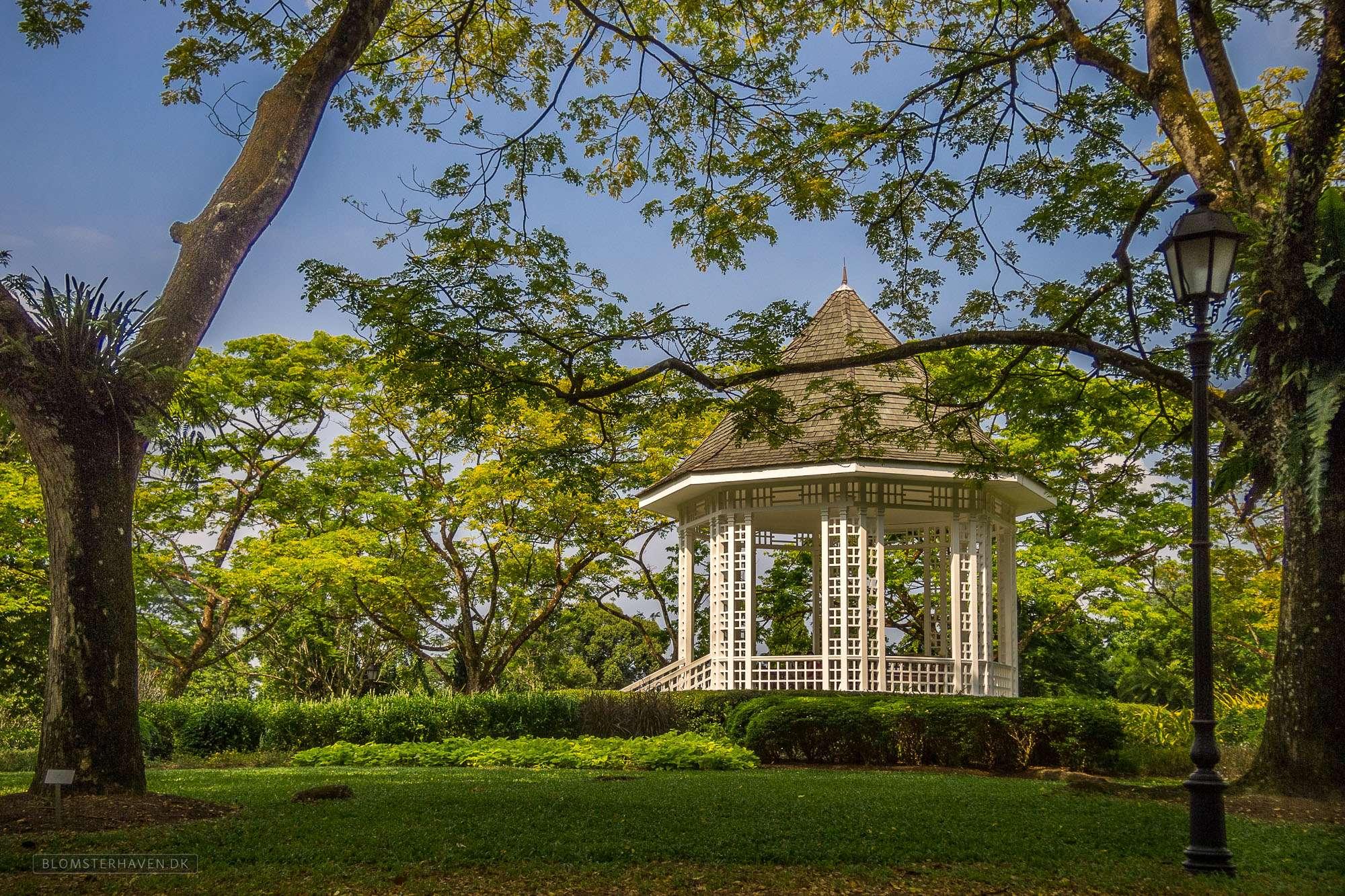 Tea House i Singapore Botanic Gardens, er faktisk en musikpavillon