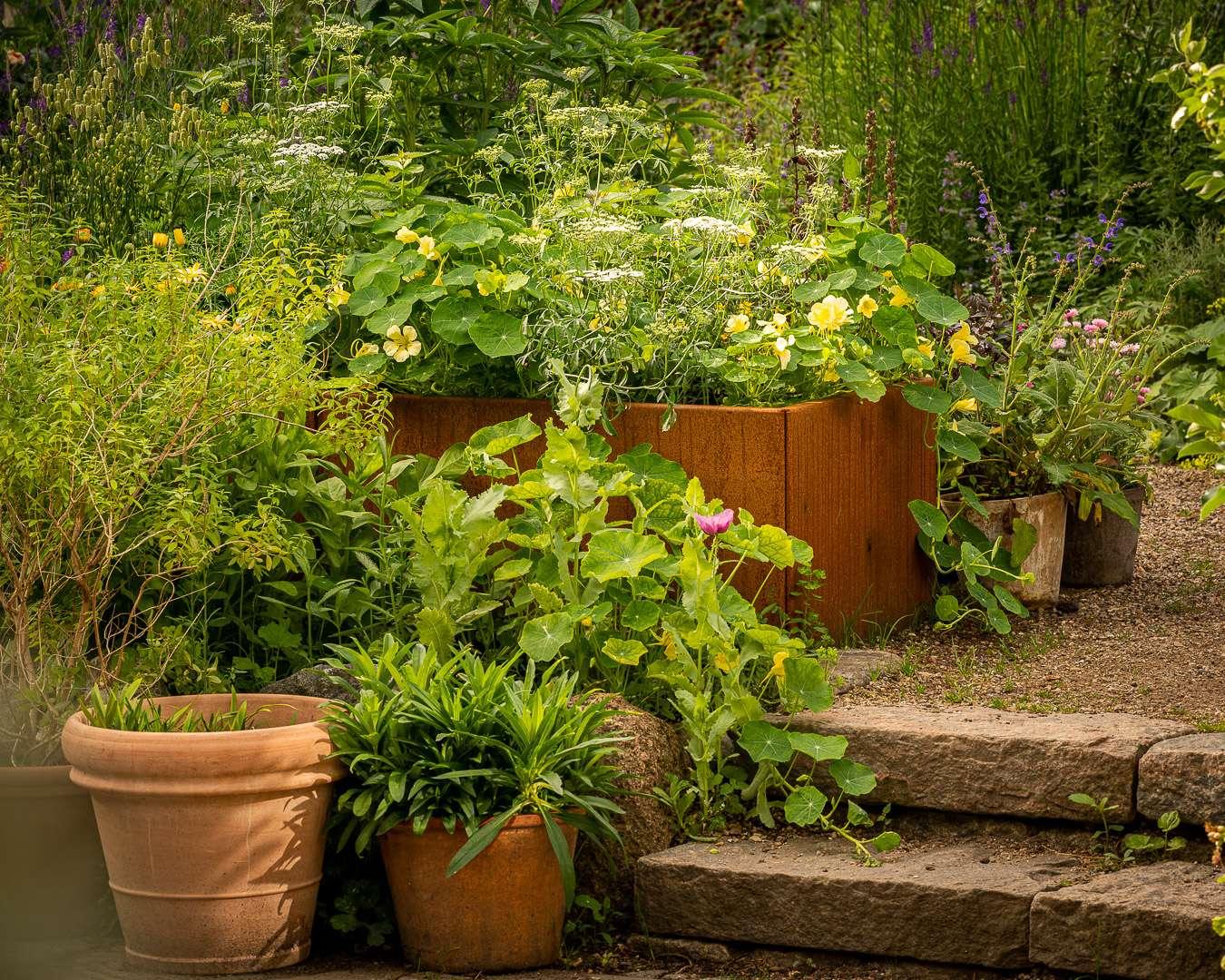 Krukker, højbede og niveauer i haven